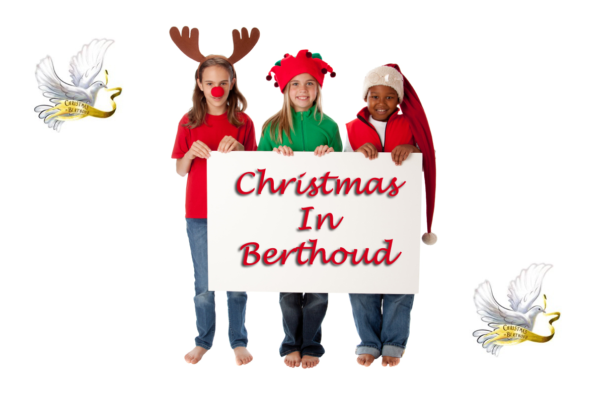 Children in Costume Holding Blank Sign for Christmas Winter Holi